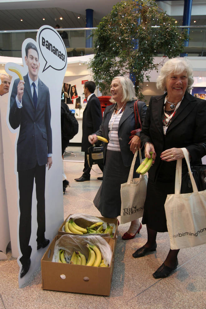 David Miliband being mocked for holding a banana
