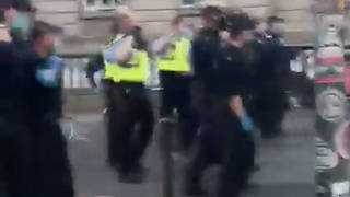 Police dispersed large crowds drinking in the centre of Dublin and made 14 arrests