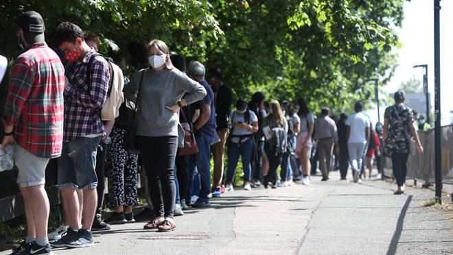 A huge queue of young people formed in Harrow