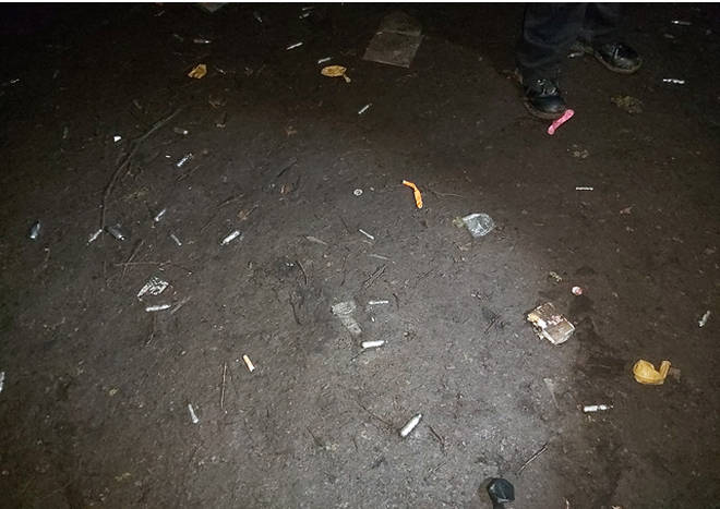 Pictures appear to show drug paraphernalia left behind after the rave.