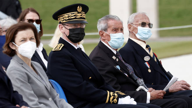 French Defence minister, Florence Parly, Prefect of Calvados Philippe Court, Veterans Charles Shay, 96, David Mylchreest, 97, attend the official opening ceremony
