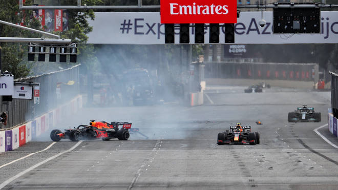 Max Verstappen crashed out of the lead of the Azerbaijan Grand with just five laps remaining following a horror tyre failure at 200mph