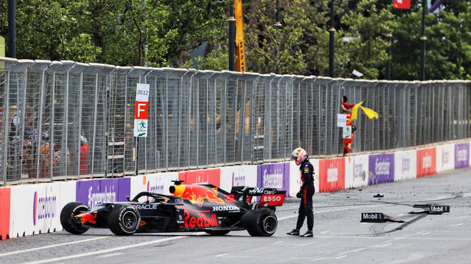 The failure sent the Red Bull driver into the concrete wall on the right-hand side of the start-finish straight