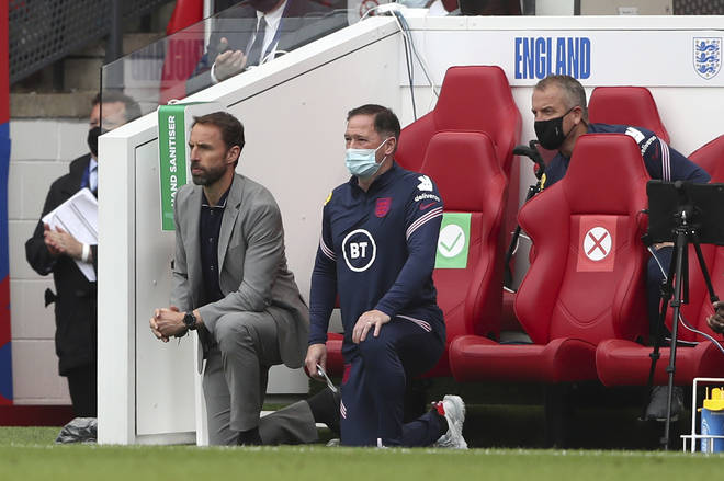 """Gareth Southgate spoke to his players about the incident ahead of Sunday's return to Middlesbrough, saying on the eve of the match that """"we feel more than ever determined to take the knee"""" at the Euros"""