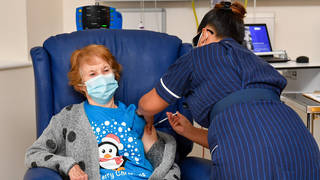 May Parsons administered the Pfizer dose to 90-year-old Margaret Keenan in Coventry on December 6
