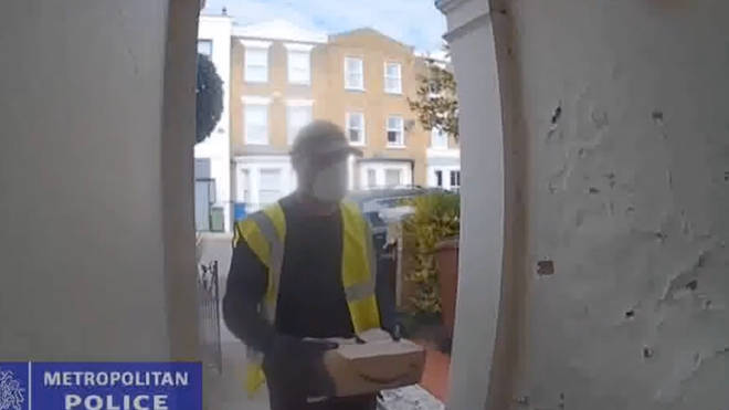 Forde was wearing a hi-vis jacket and holding an empty Amazon cardboard box