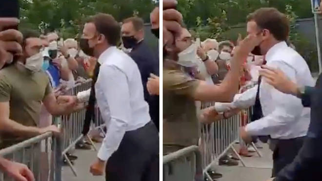 Mr Macron was hit during the visit.