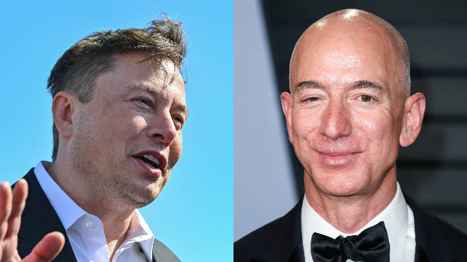Elon Musk (L) and Jeff Bezos (R) both allegedly paid no income tax in certain years