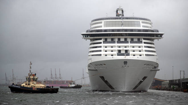 MSC Virtuosa preparing to depart the Port of Southampton on its first cruise since the easing of restrictions
