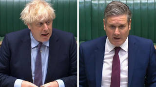 Boris Johnson and Sir Keir Starmer at PMQs