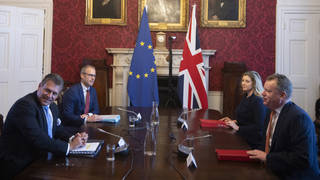 Brexit minister Lord Frost, flanked by Penny Mordaunt, sitting opposite Maros Sefcovic and Richard Szostak
