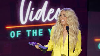 Carrie Underwood accepts the award for video of the year