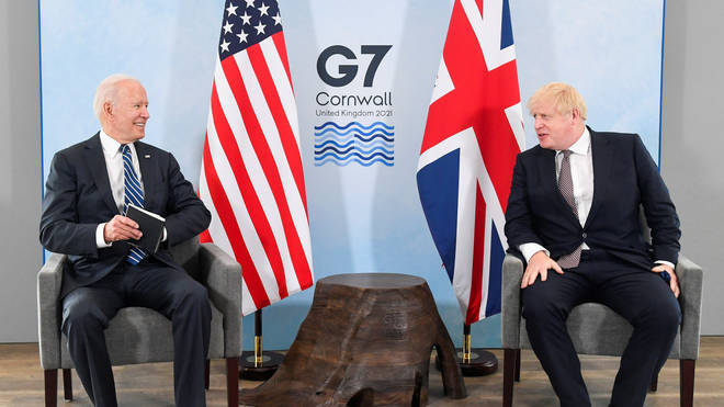 It is the first time Mr Johnson and Mr Biden have met face-to-face