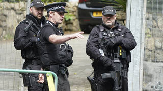 Armed police at a checkpoint in St. Ives, Cornwall, England during the G7 (file image)