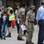 Members of the Armed Forces at a mobile Covid-19 vaccination centre outside Bolton Town Hall