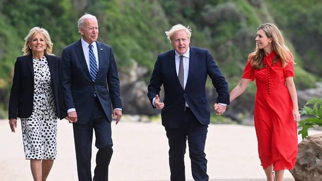 Joe Biden, Dr Jill Biden, Boris Johnson and Carrie Johnson were photographed admiring the view ahead of Mr Biden and Mr Johnson's meeting