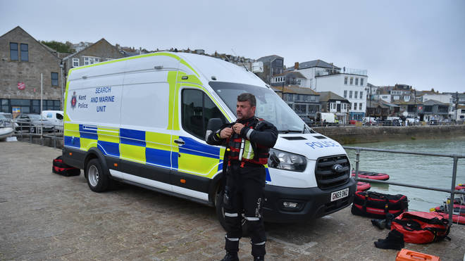 There is a heavy police presence in Carbis Bay, which has led to concerns about unvaccinated police officers