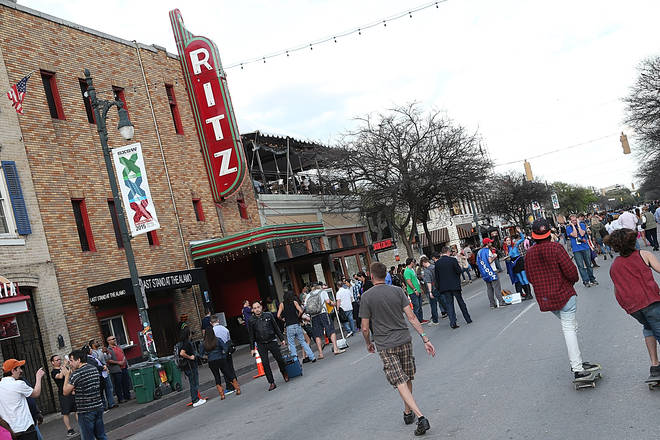 File photo of the busy Sixth Street in Austin, Texas