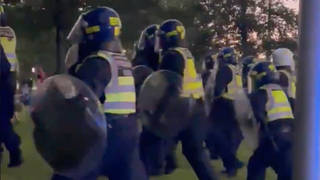 Police in riot gear were seen near the London Eye on Saturday night