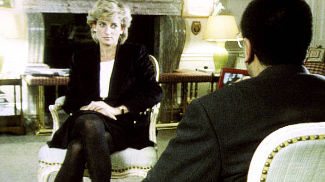 Martin Bashir and Princess Diana in the BBC Panorama interview in 1995.