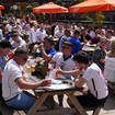 England fans at the Canal House pub in Birmingham as they watch the match between England and Croatia (Jacob King/PA)