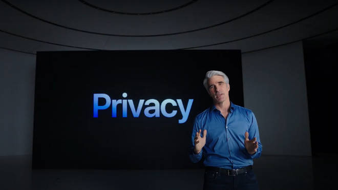 Apple senior vice president of software engineering, Craig Federighi, speaks during the company's WWDC keynote