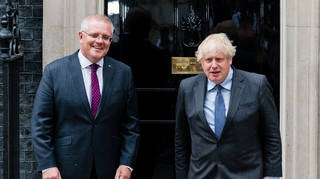 Australian PM Scott Morrison and Boris Johnson are understood to have agreed on a deal over dinner on Monday night