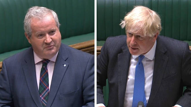"""Ian Blackford has quizzed Boris Johnson on leaked WhatsApp messages in which he is said to have called Hancock """"f***ing hopeless"""""""