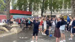 Scotland fans in Leicester Square yesterday evening