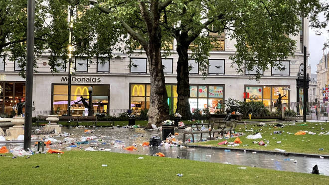 Leicester Square was left strewn with rubbish