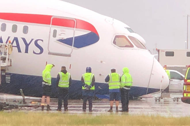 The nose of a British Airways freighter plane collapsed at Heathrow Airport