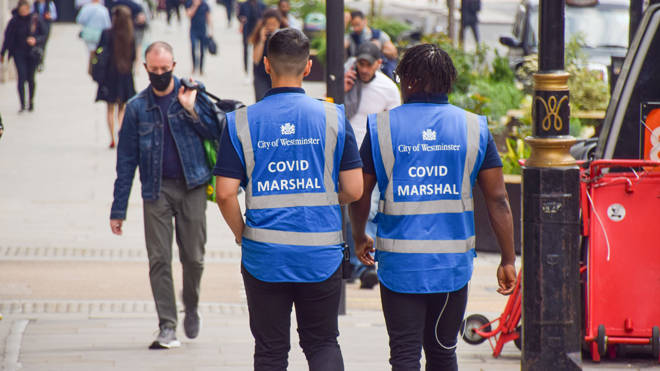 Covid marshals on patrol in central London. Figures released today show a 79pc rise in cases of the Delta variant