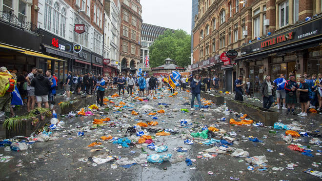 The rubbish left behind the morning after the celebrations