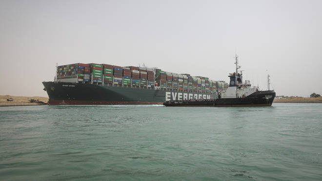 The Ever Given was carrying around 700 million dollars (£500 million) in cargo between Asia and Europe when it ran aground in the Suez Canal on March 23