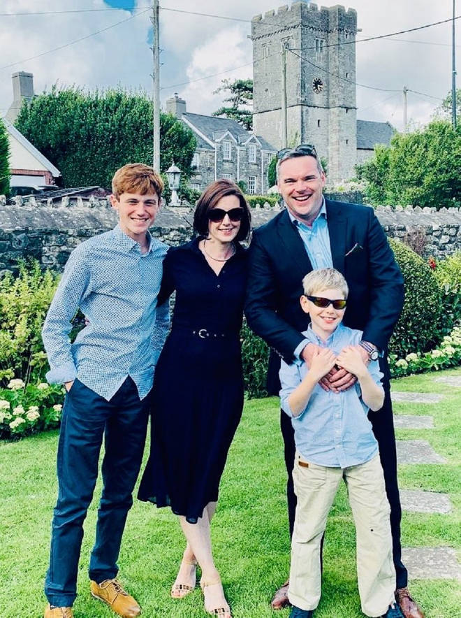 Mr O'Toole with his wife Georgina and their two children
