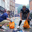 Scotland fans also helped with the clean up on Friday