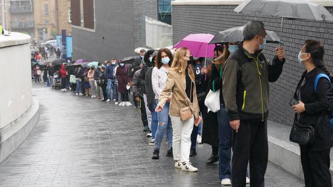 A large queue at the Tottenham Hotspur Stadium