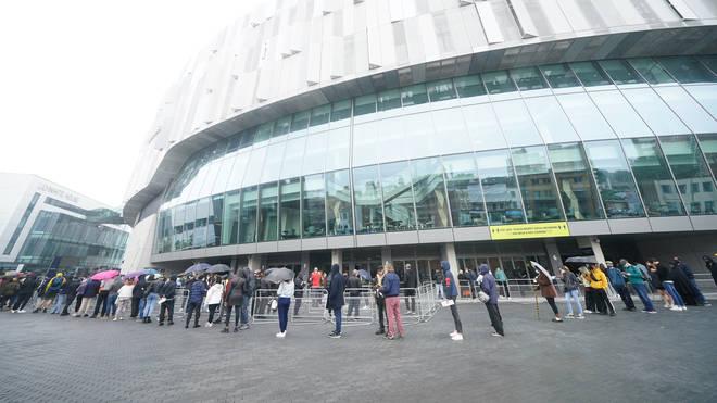 Huge queues formed at Tottenham Hotspur's stadium on Sunday