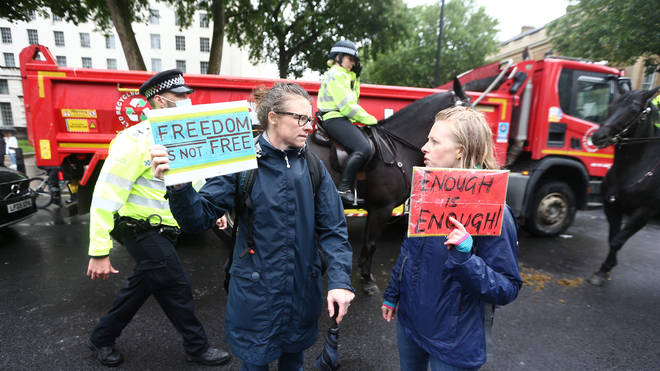 Anti-lockdown demonstrators marched through central London on Monday