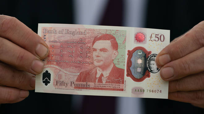 Governor of the Bank of England Andrew Bailey showed off the new £50 note.