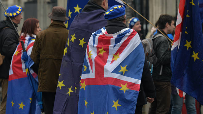 Anti-Brexit campaigners outside Parliament