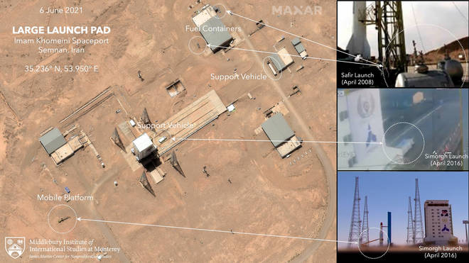 An annotated satellite image showing preparations at the Imam Khomeini Spaceport in Iran