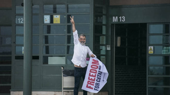 Jordi Cuixart, one of the Catalan leaders imprisoned for their role in the 2017 push for an independent Catalan republic, outside Lledoners prison near Barcelona in Spain on Wednesday