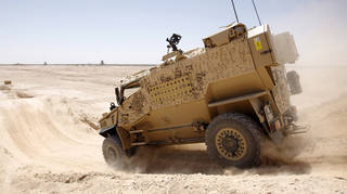 Raheel said he wants to get an armoured vehicle of the type that saw use in Afghanistan to help transport kids safely (file image)