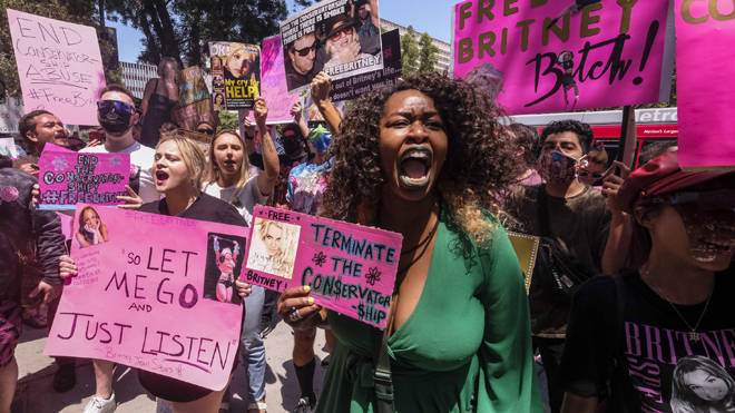 Fans and supporters of Britney Spears gather outside the County Courthouse in LA