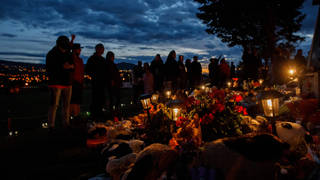 A memorial has been set up at the site of a former Kamloops residential school