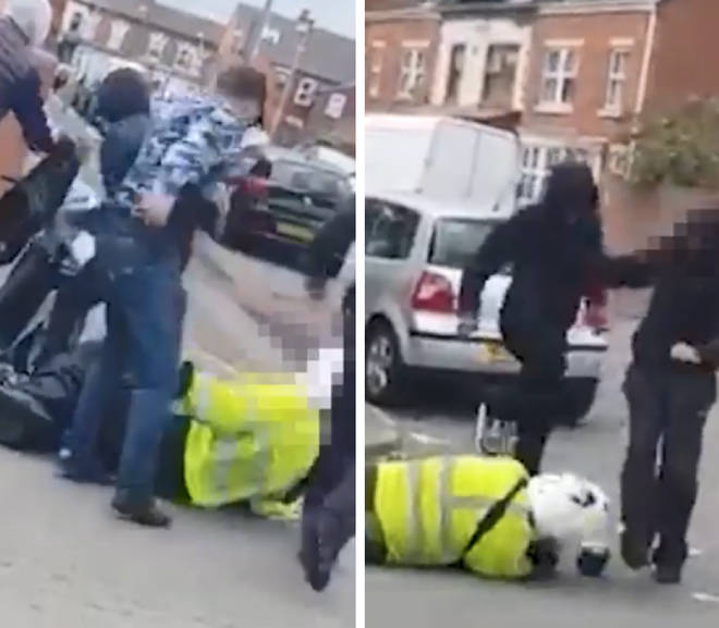The traffic warden was repeatedly kicked and stamped on