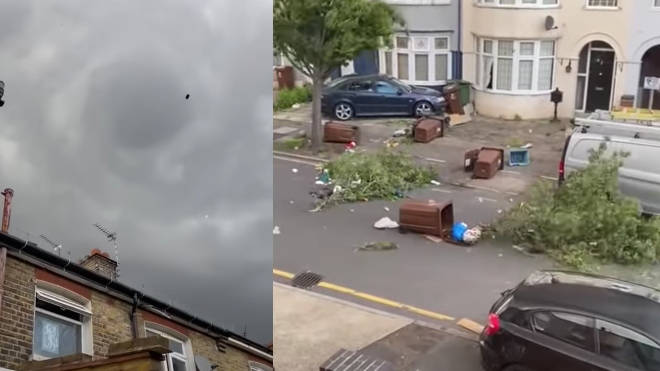 Footage posted on social media appears to show the formation of the mini tornado in Barking