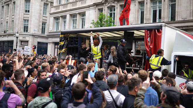 Thousands of ravers protested in central London on Sunday