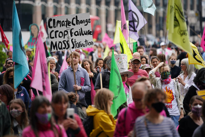Extinction Rebellion protesters marched through central London on Sunday morning